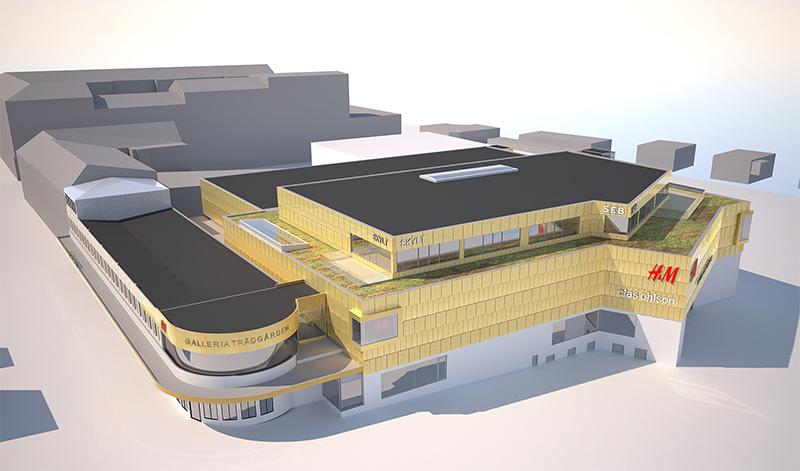 Nya våningsplan och butiker till Trädgården