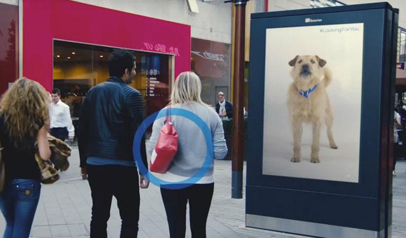Digital hund följer kunden i centrumet