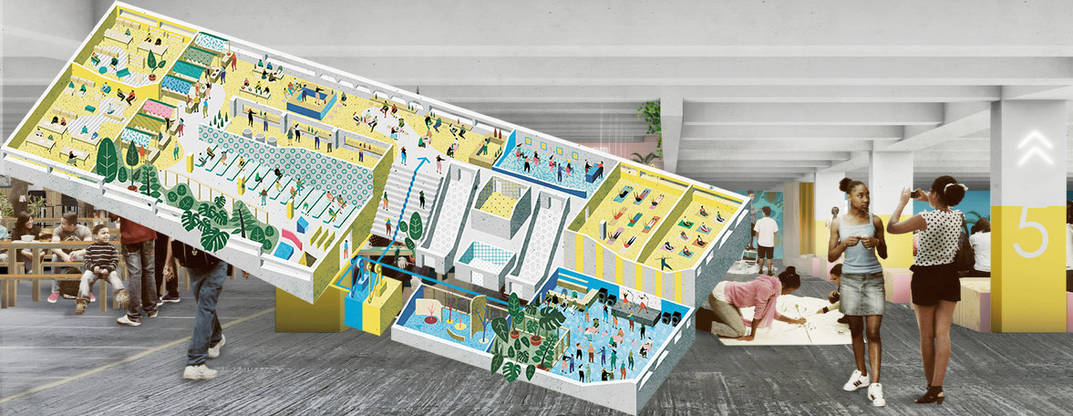Övergivet parkeringshus blev levande centrum