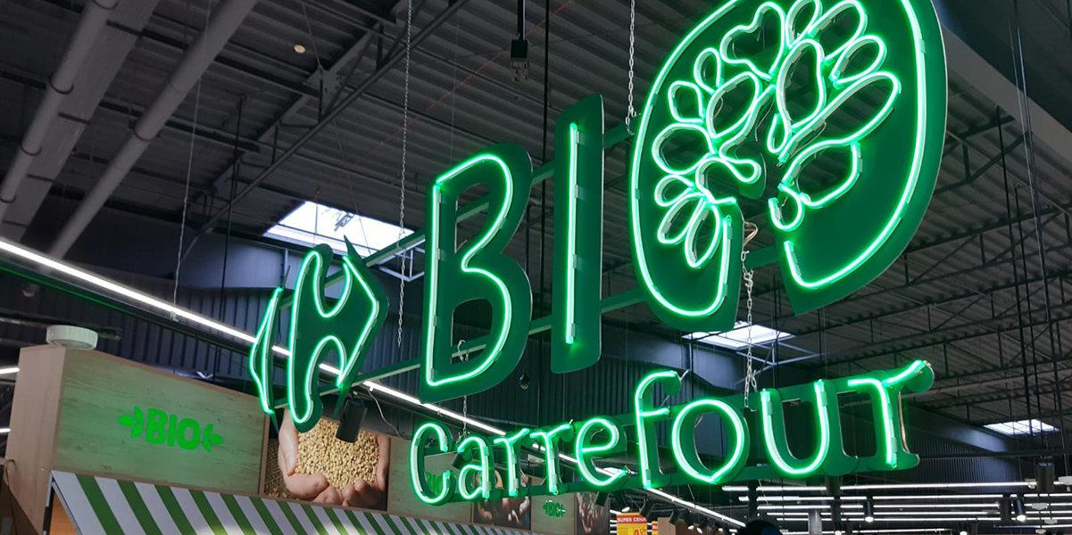 Bio-butik i butiken hos Carrefour