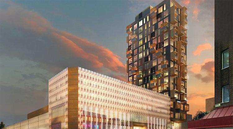Höghus byggs i hörnet av köpcentrum