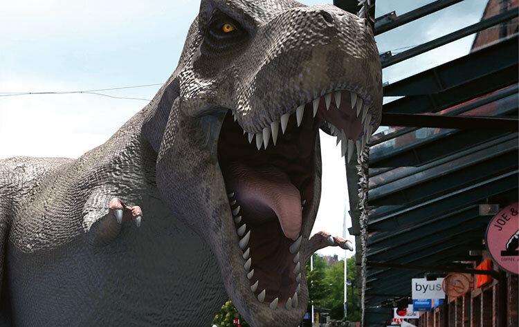 AR-dinosaurier invaderar centrum
